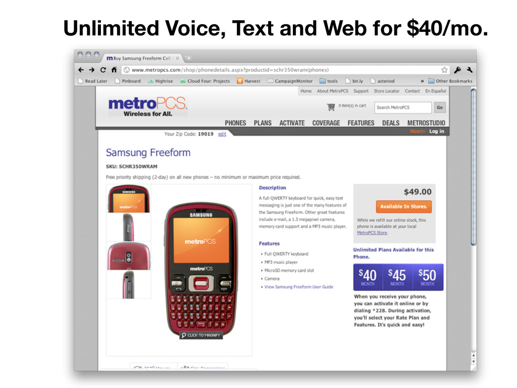 Unlimited Voice, Text and Web for $40/mo.