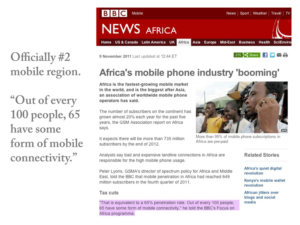 "Officially #2 mobile region. ""Out of every 100 pe..."