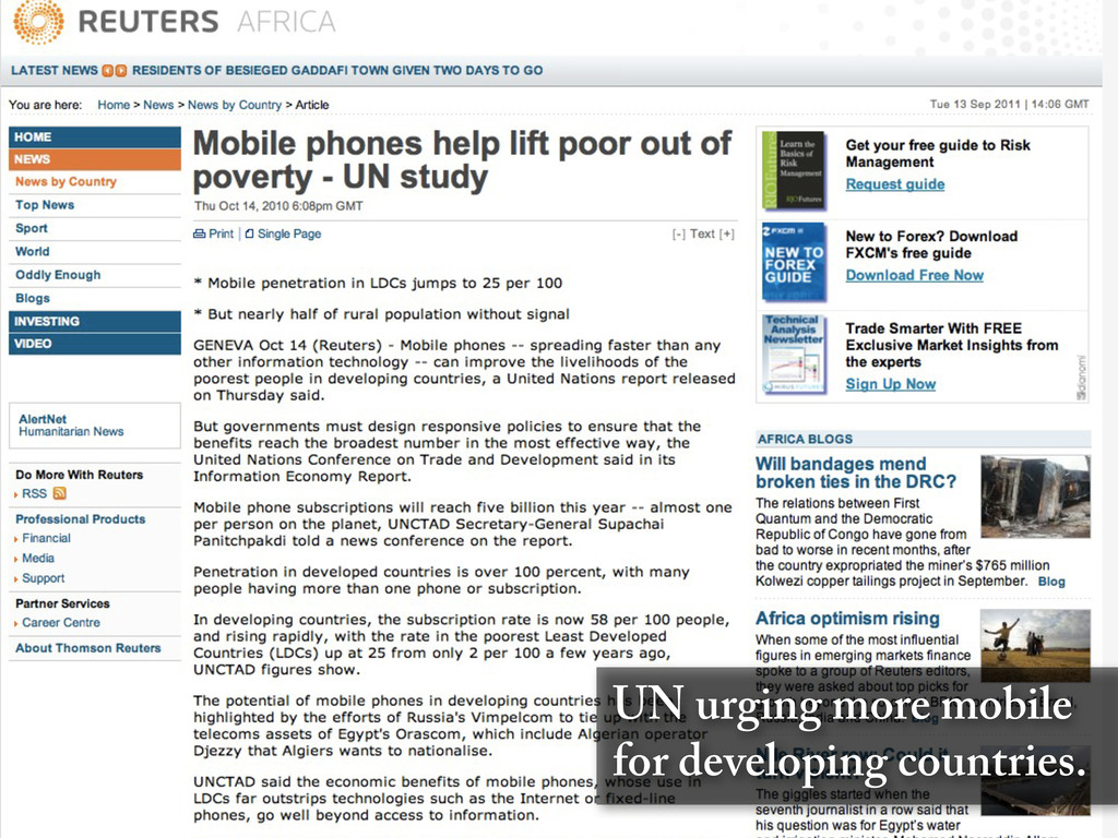 UN urging more mobile for developing countries.