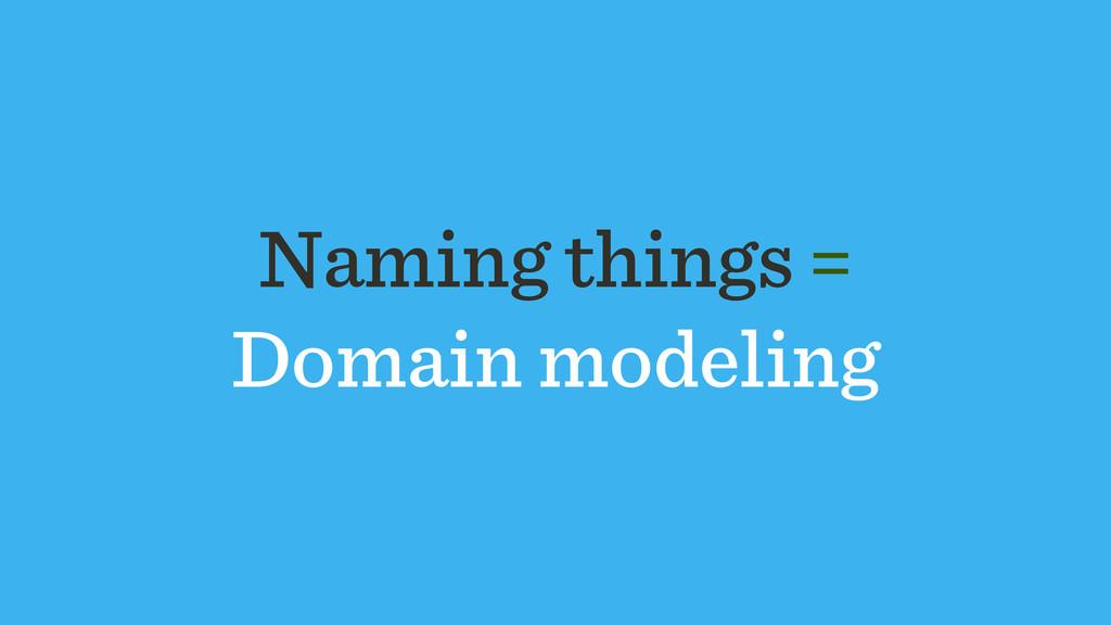 Naming things = Domain modeling
