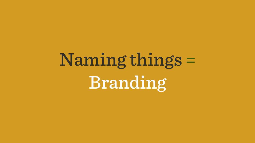 Naming things = Branding