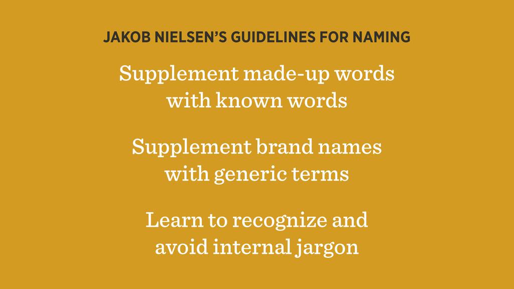 JAKOB NIELSEN'S GUIDELINES FOR NAMING Supplemen...