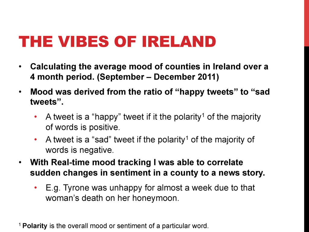 THE VIBES OF IRELAND •  Calculating the average...