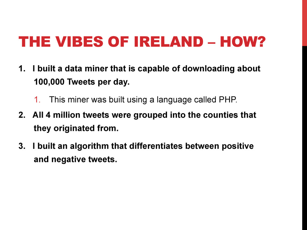 THE VIBES OF IRELAND – HOW? 1.  I built a data ...