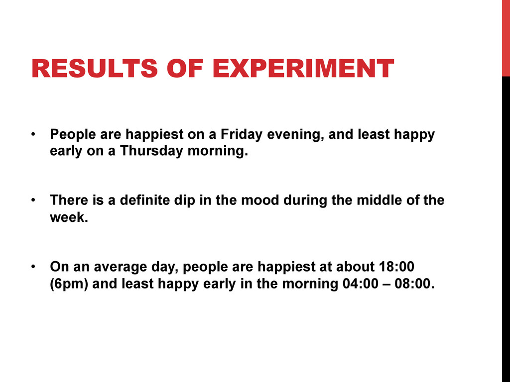 RESULTS OF EXPERIMENT •  People are happiest on...