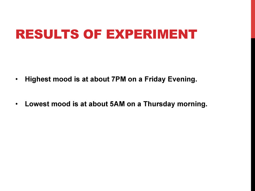 RESULTS OF EXPERIMENT •  Highest mood is at abo...