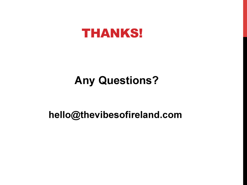 THANKS! Any Questions? hello@thevibesofireland....