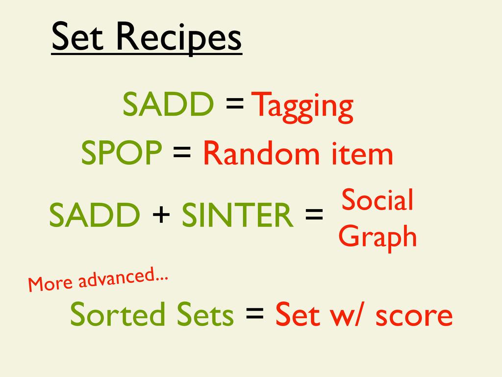 Set Recipes SADD = Tagging SPOP = Random item S...