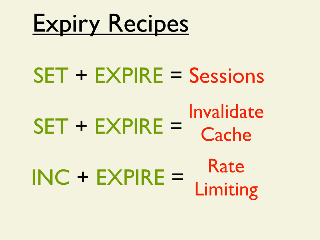 Expiry Recipes Rate Limiting SET + EXPIRE = Ses...
