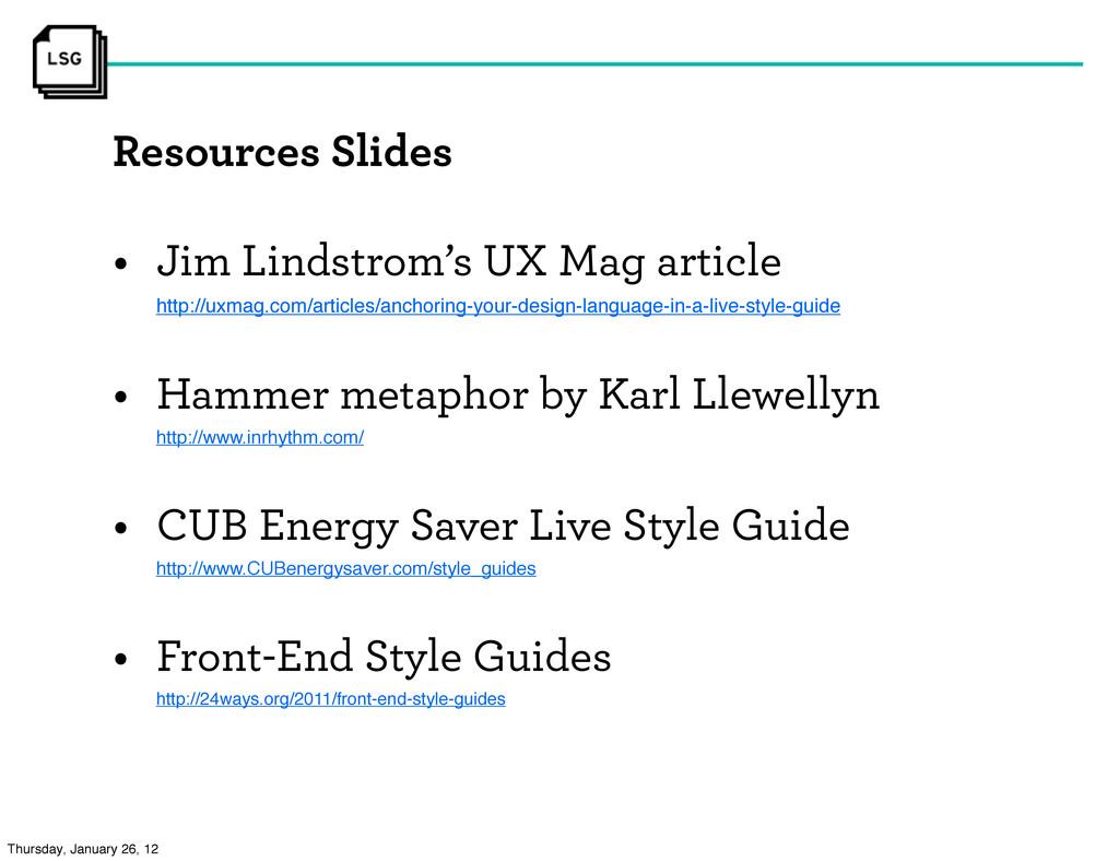 Resources Slides • Jim Lindstrom's UX Mag artic...