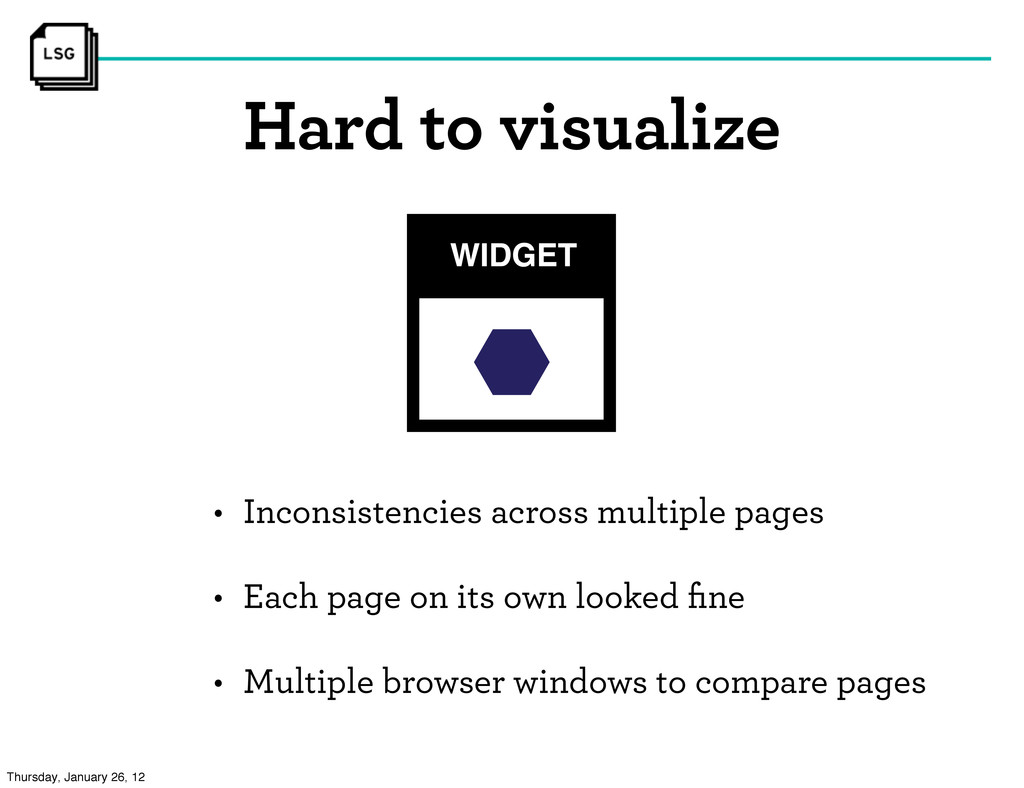 Hard to visualize • Inconsistencies across mult...