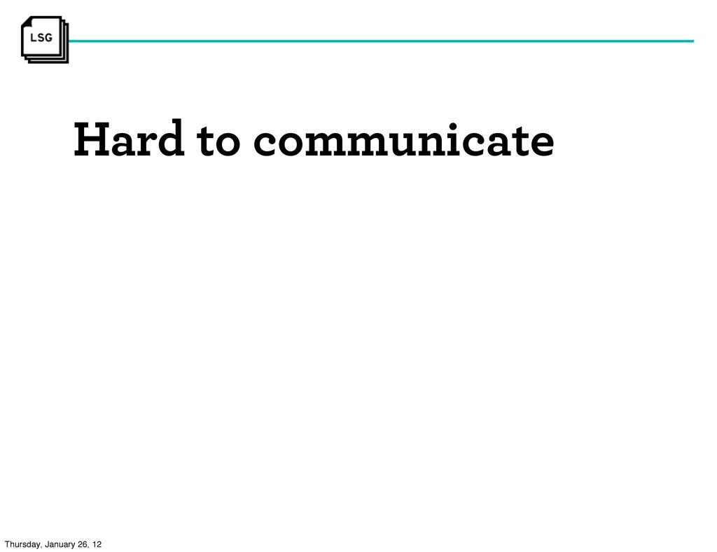Hard to communicate Thursday, January 26, 12