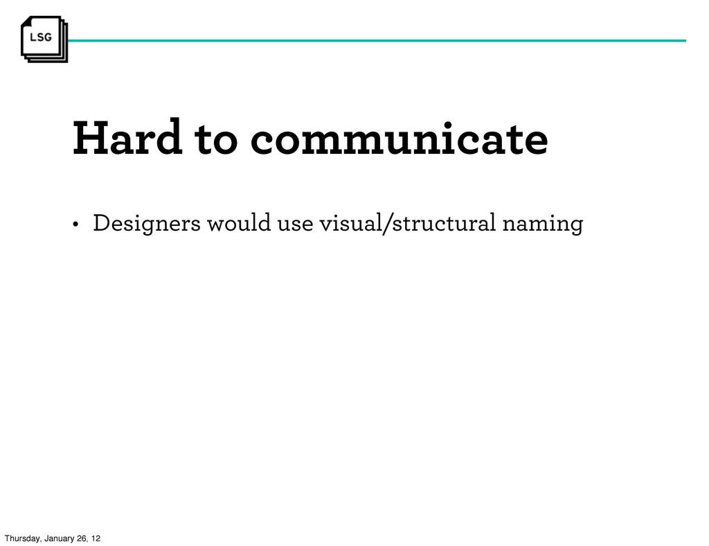 Hard to communicate • Designers would use visua...