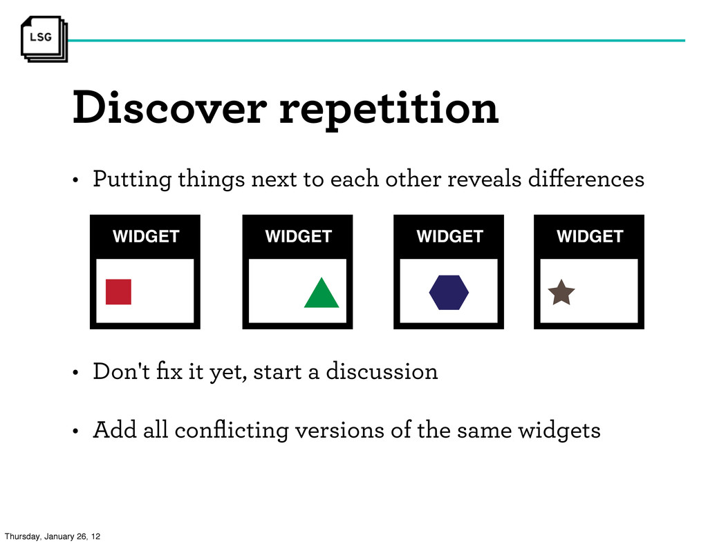 Discover repetition • Don't fix it yet, start a ...