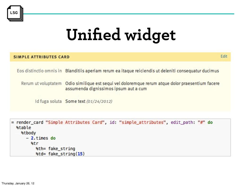 Unified widget Thursday, January 26, 12