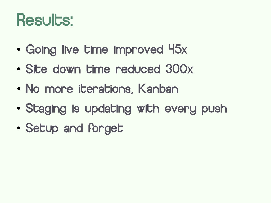 Results:  Going live time improved 45x  Site ...