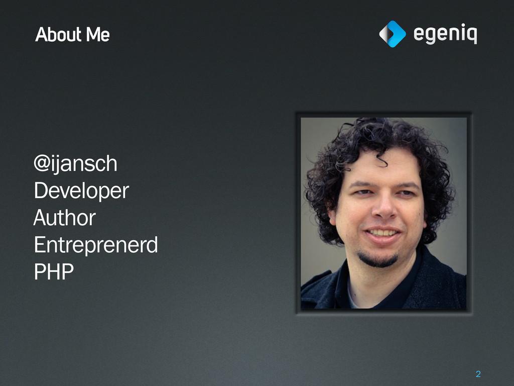About Me @ijansch Developer Author Entreprenerd...
