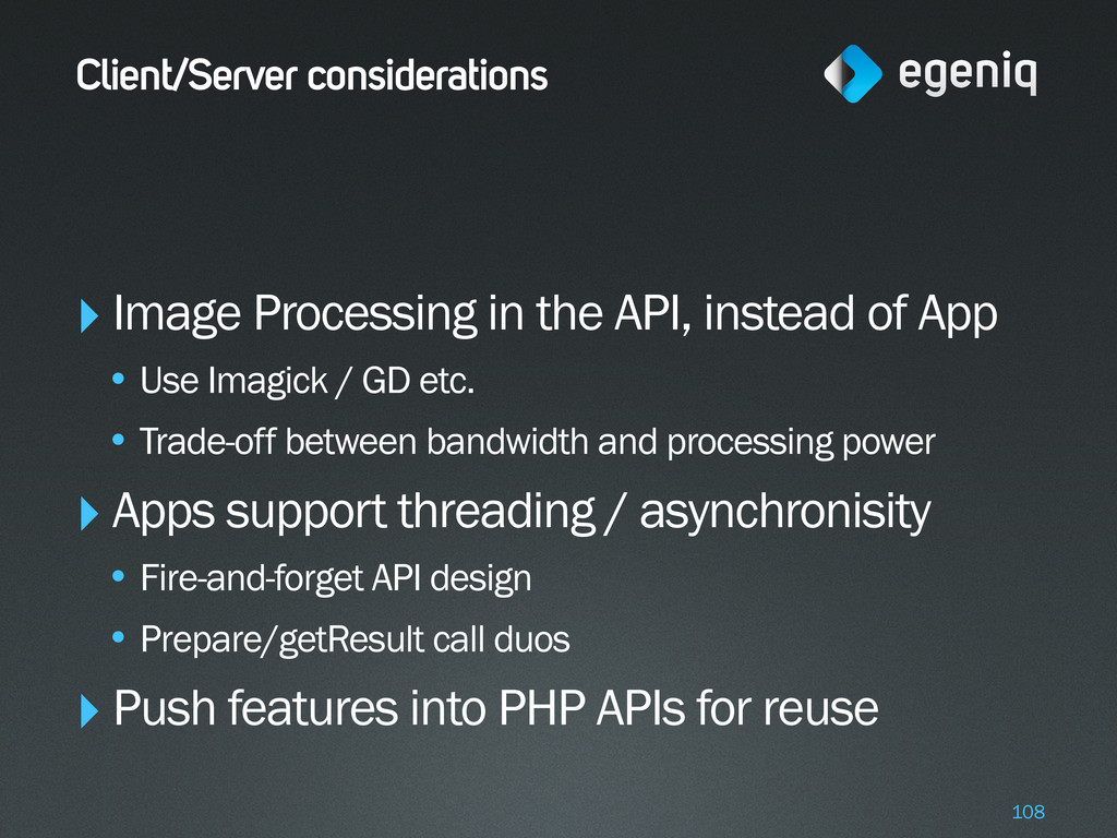 Client/Server considerations ‣Image Processing ...
