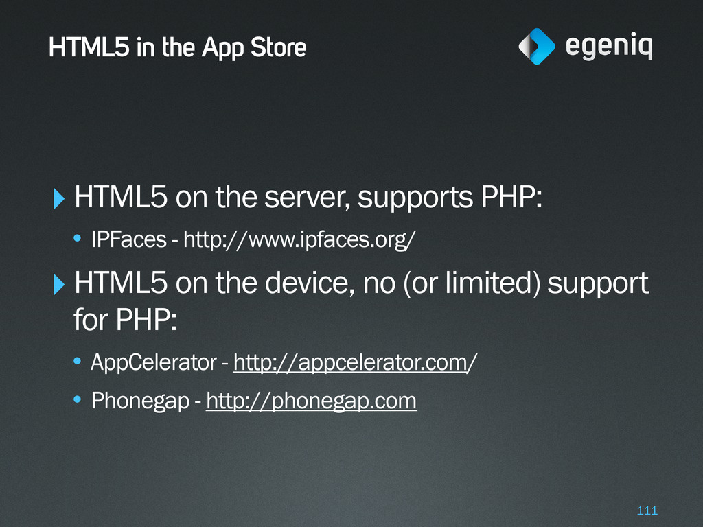HTML5 in the App Store ‣HTML5 on the server, su...