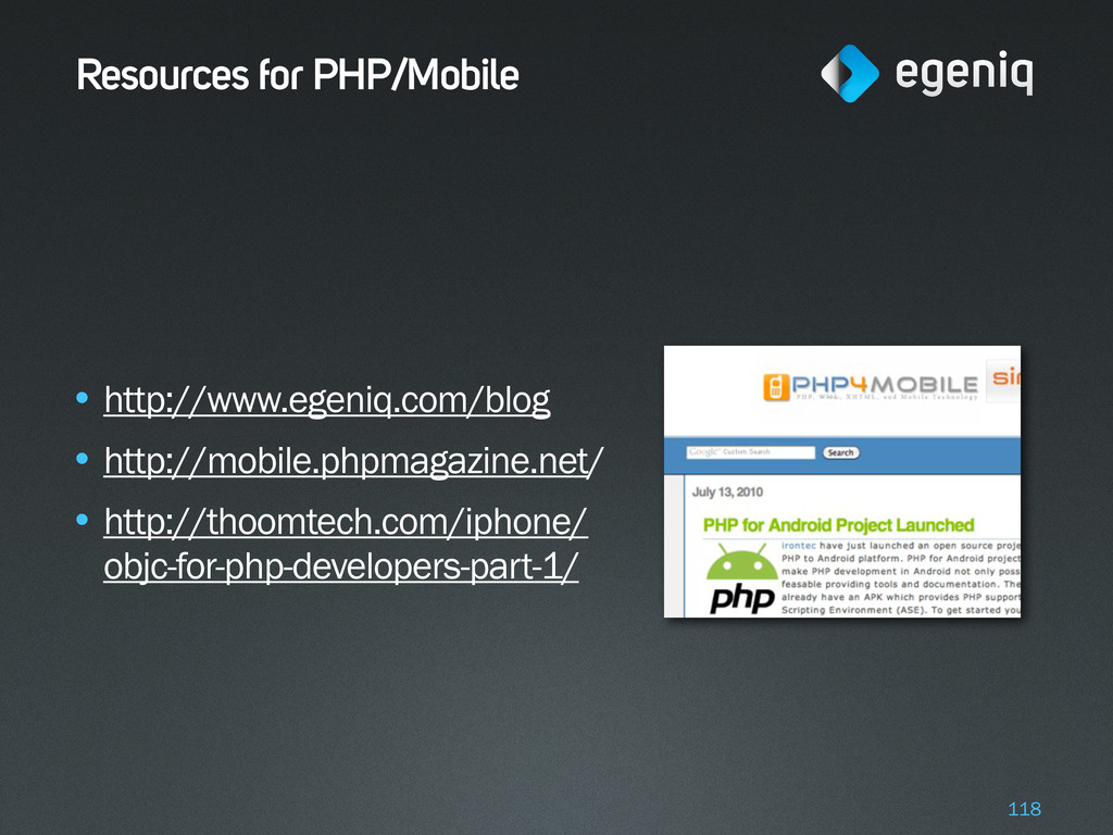Resources for PHP/Mobile • http://www.egeniq.co...