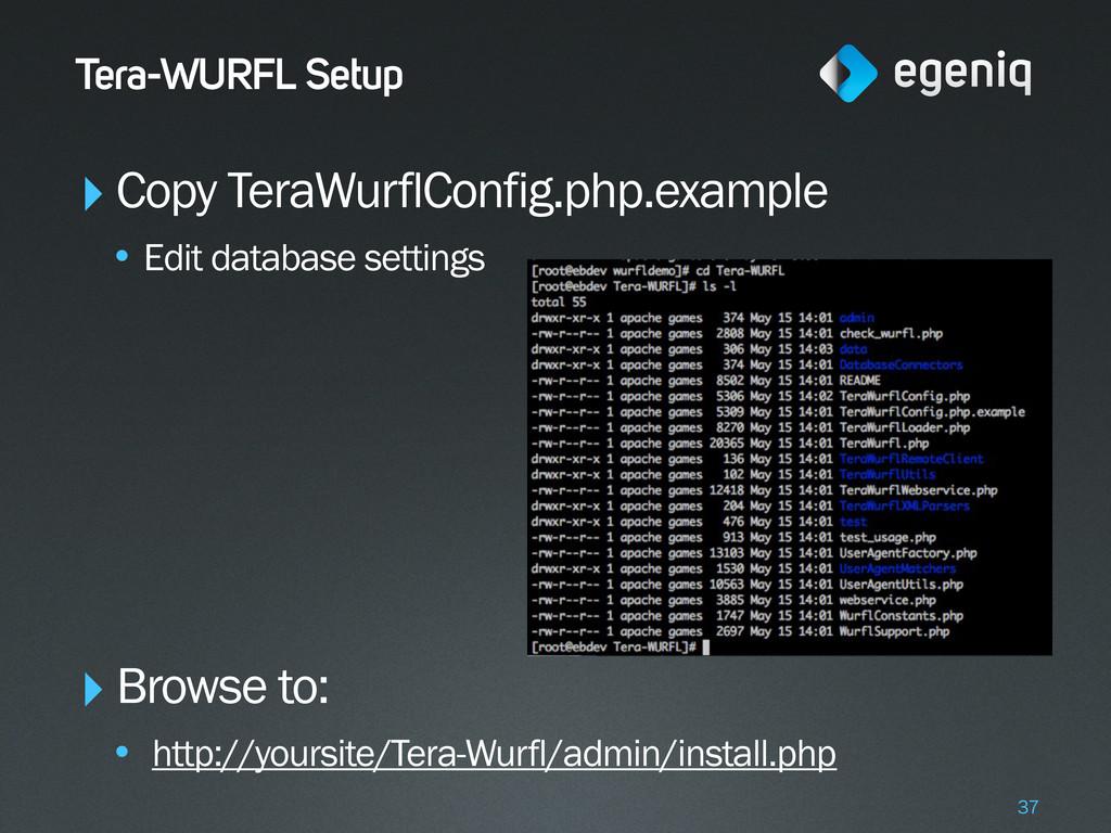 Tera-WURFL Setup ‣Copy TeraWurflConfig.php.exam...