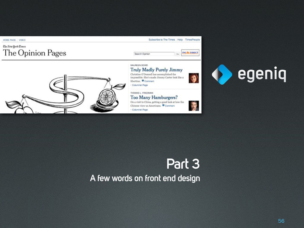 Part 3 A few words on front end design 56