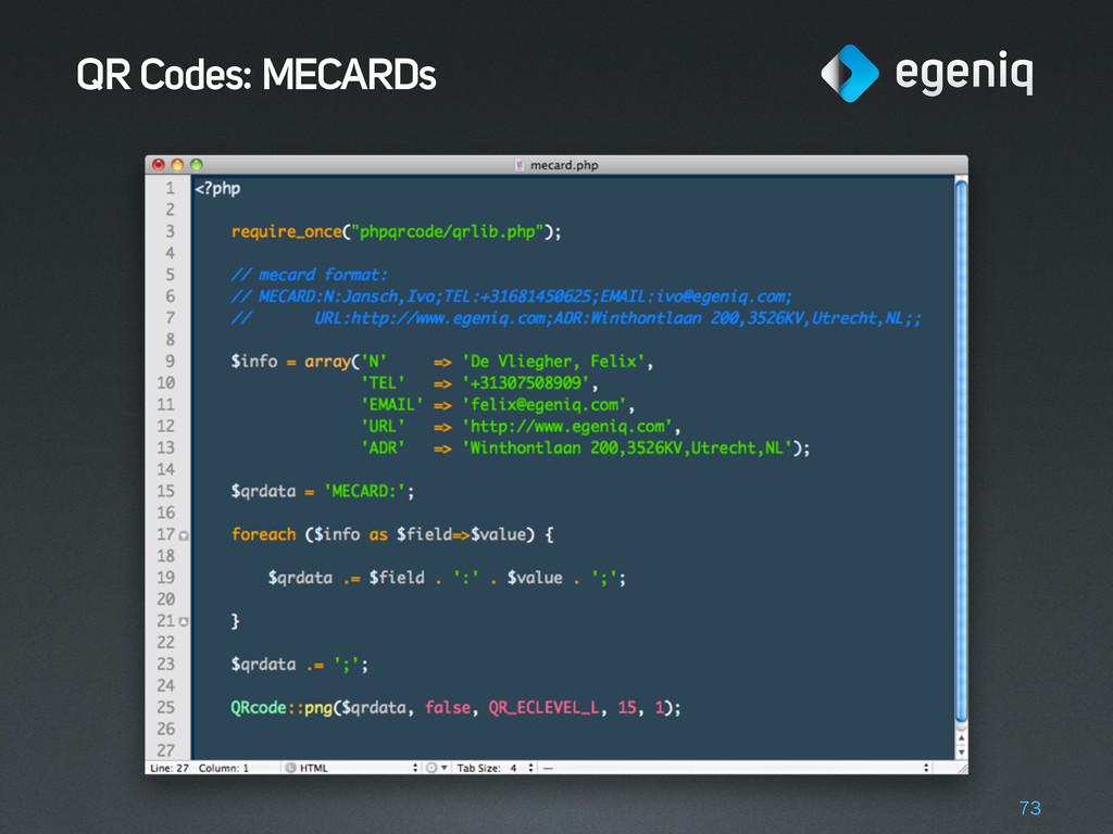 QR Codes: MECARDs 73