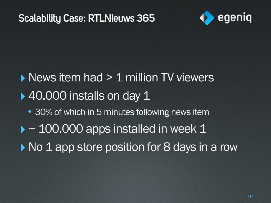 Scalability Case: RTLNieuws 365 ‣News item had ...