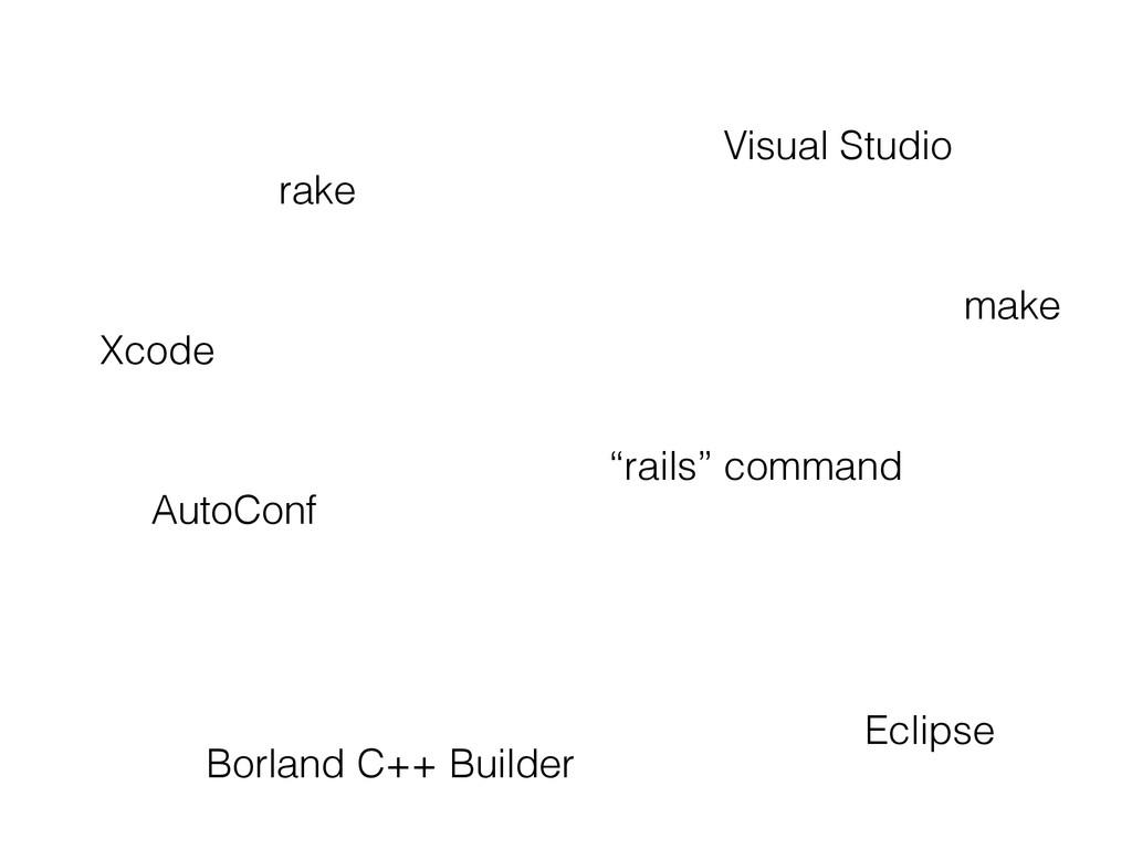 """rails"" command Xcode Visual Studio rake make A..."