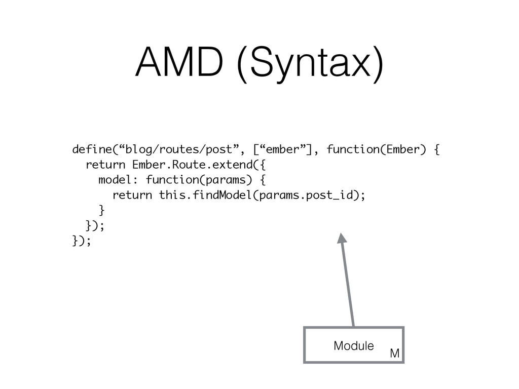 """AMD (Syntax) define(""""blog/routes/post"""", [""""ember..."""