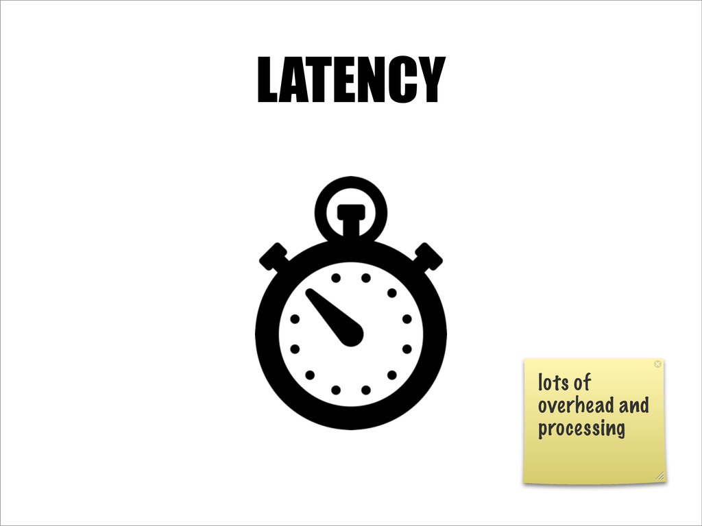 LATENCY lots of overhead and processing