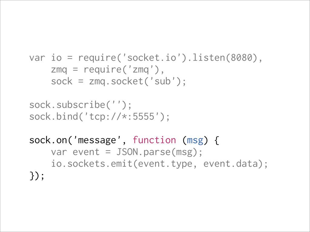 var io = require('socket.io').listen(8080), zmq...
