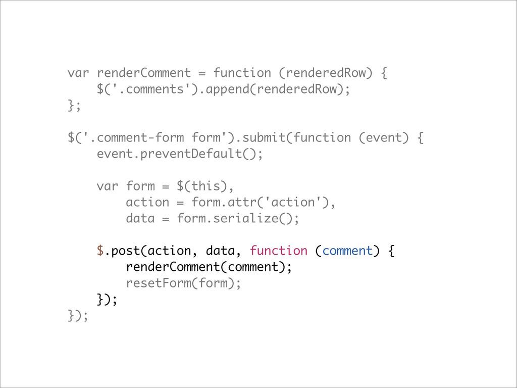 var renderComment = function (renderedRow) { $(...