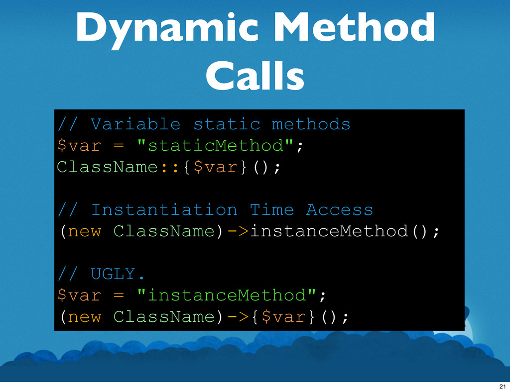 Dynamic Method Calls // Variable static methods...