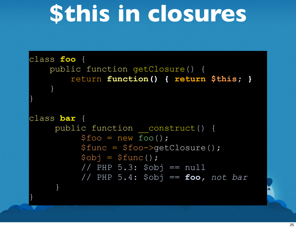 $this in closures class foo { public function g...
