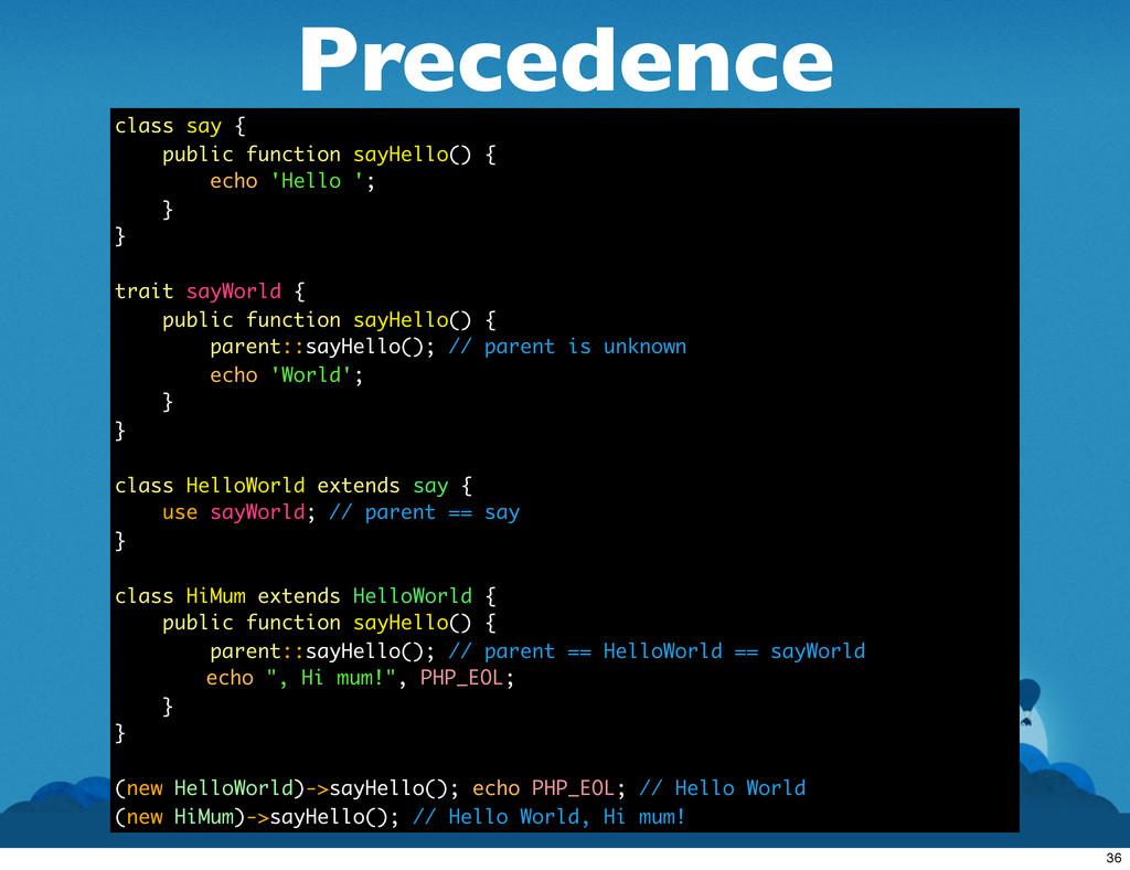 Precedence class say { public function sayHello...