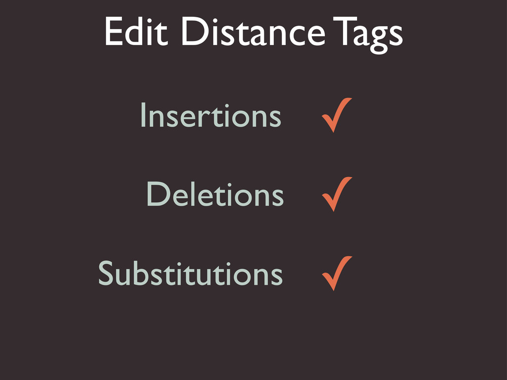 Edit Distance Tags Insertions Deletions Substit...