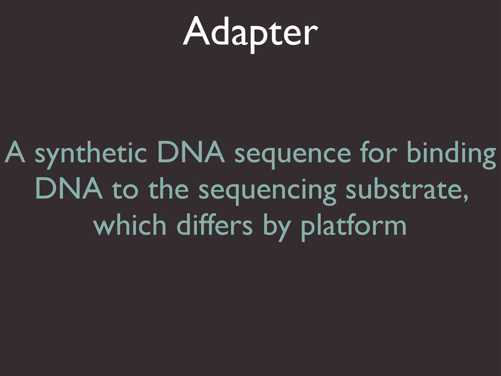 Adapter A synthetic DNA sequence for binding DN...