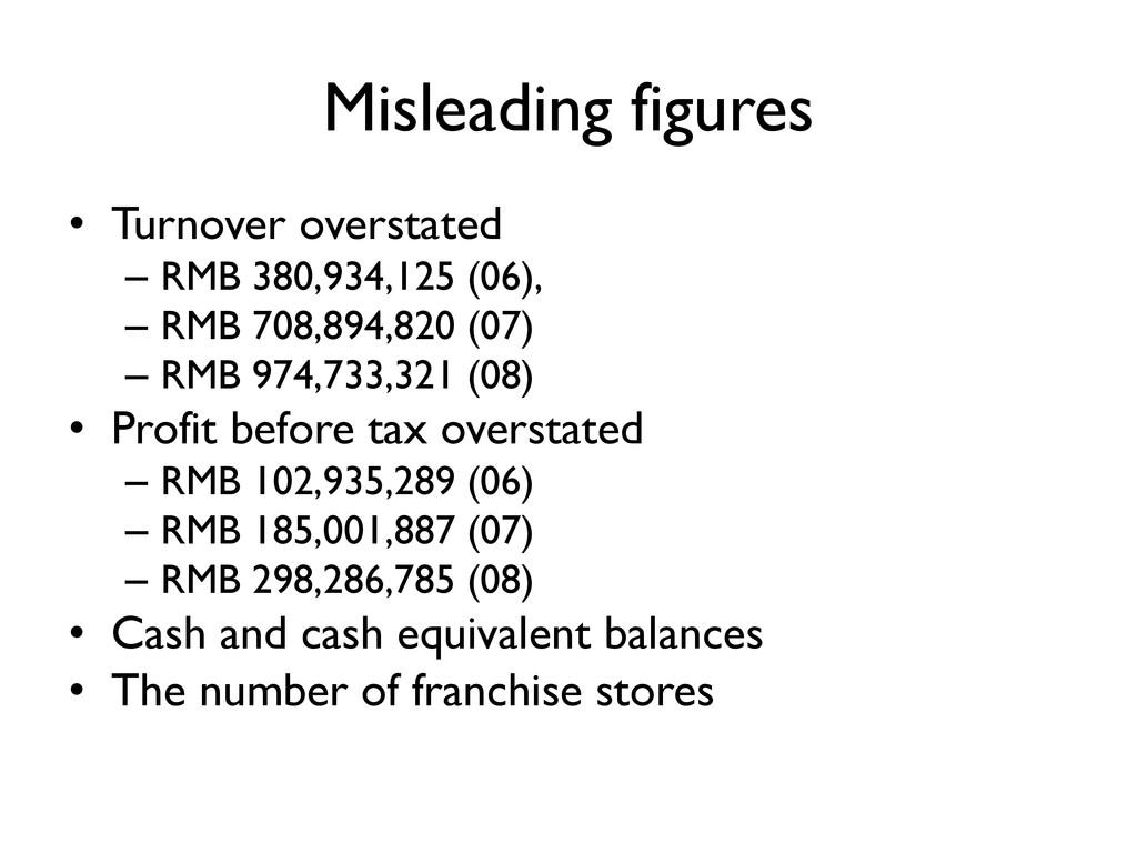 Misleading figures • Turnover overstated – RMB ...