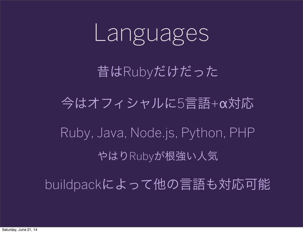 Languages ੲRuby͚ͩͩͬͨ ࠓΦϑΟγϟϧʹ5ݴޠ+αରԠ Ruby, Ja...