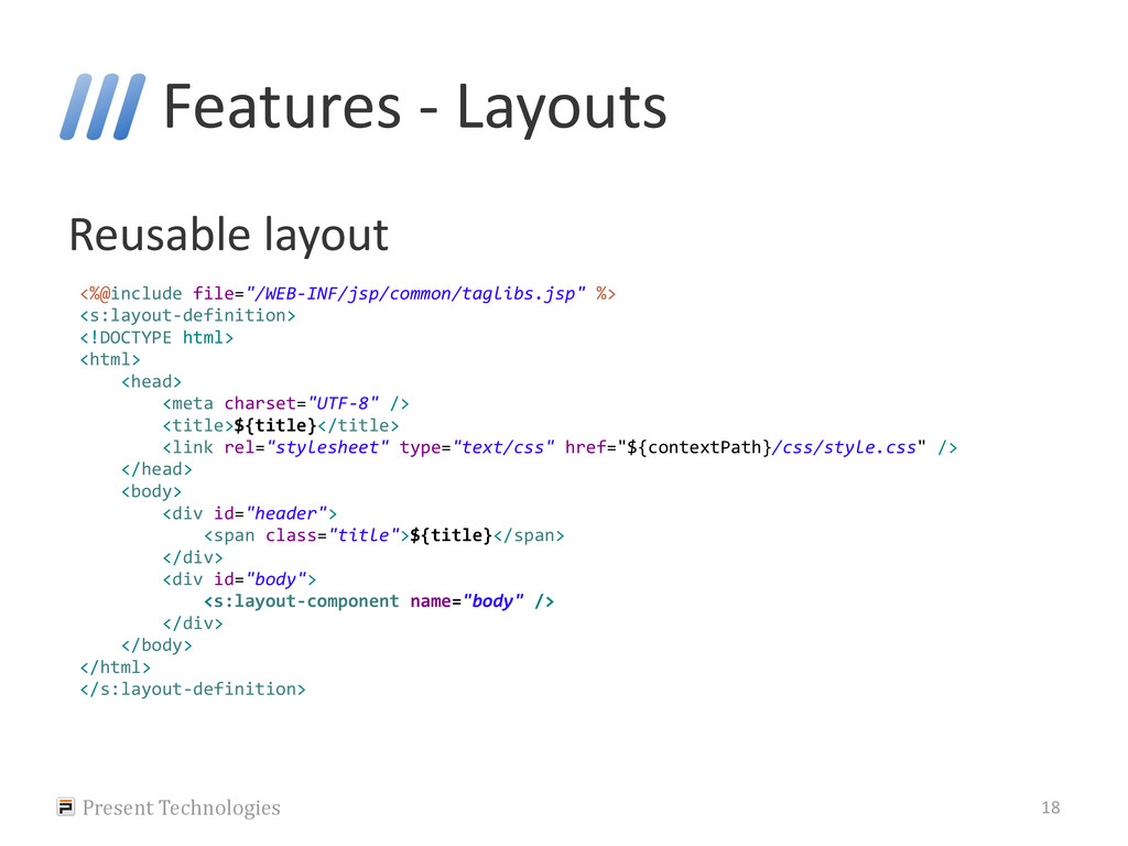Features - Layouts Reusable layout Present Tech...