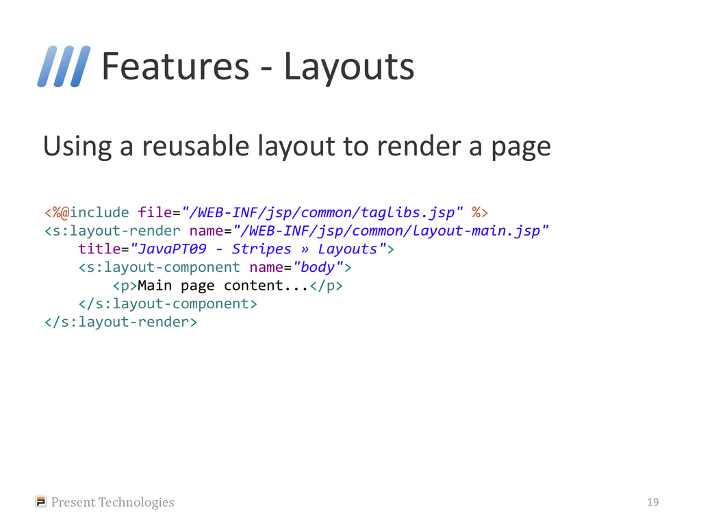 Features - Layouts Using a reusable layout to r...