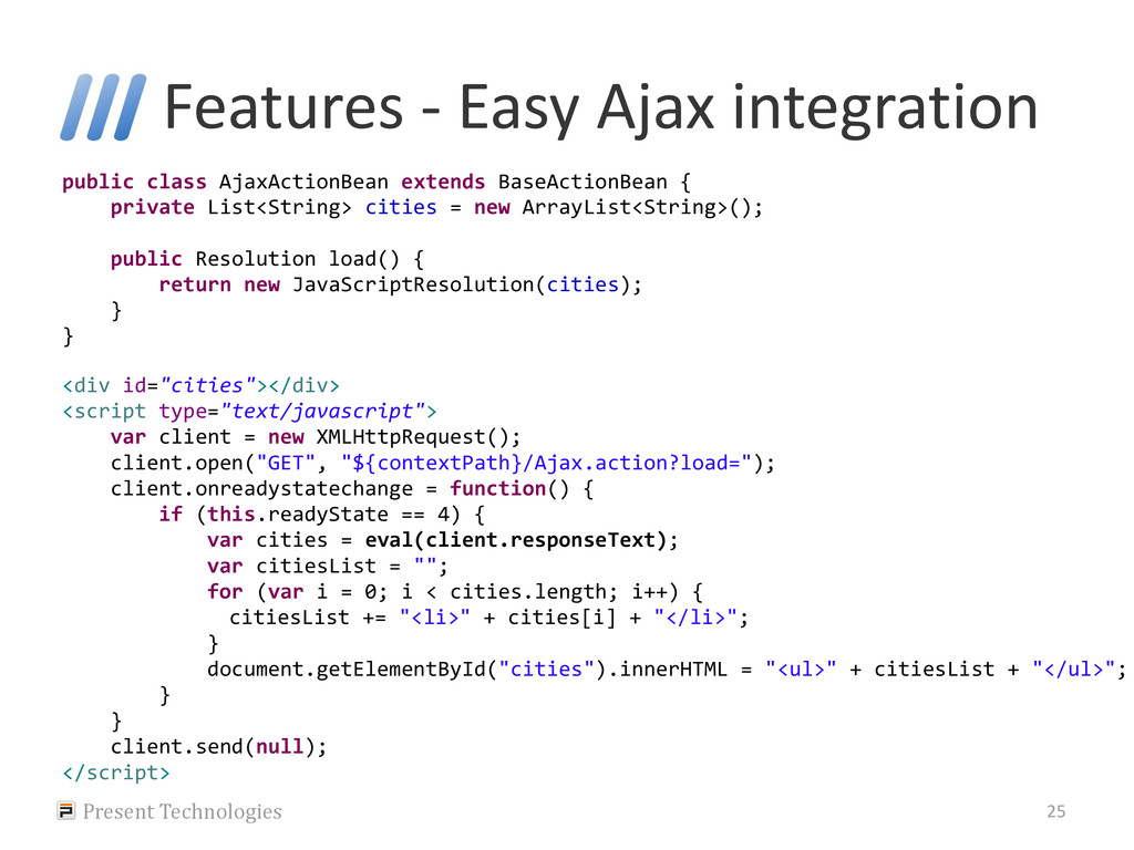 Features - Easy Ajax integration Present Techno...