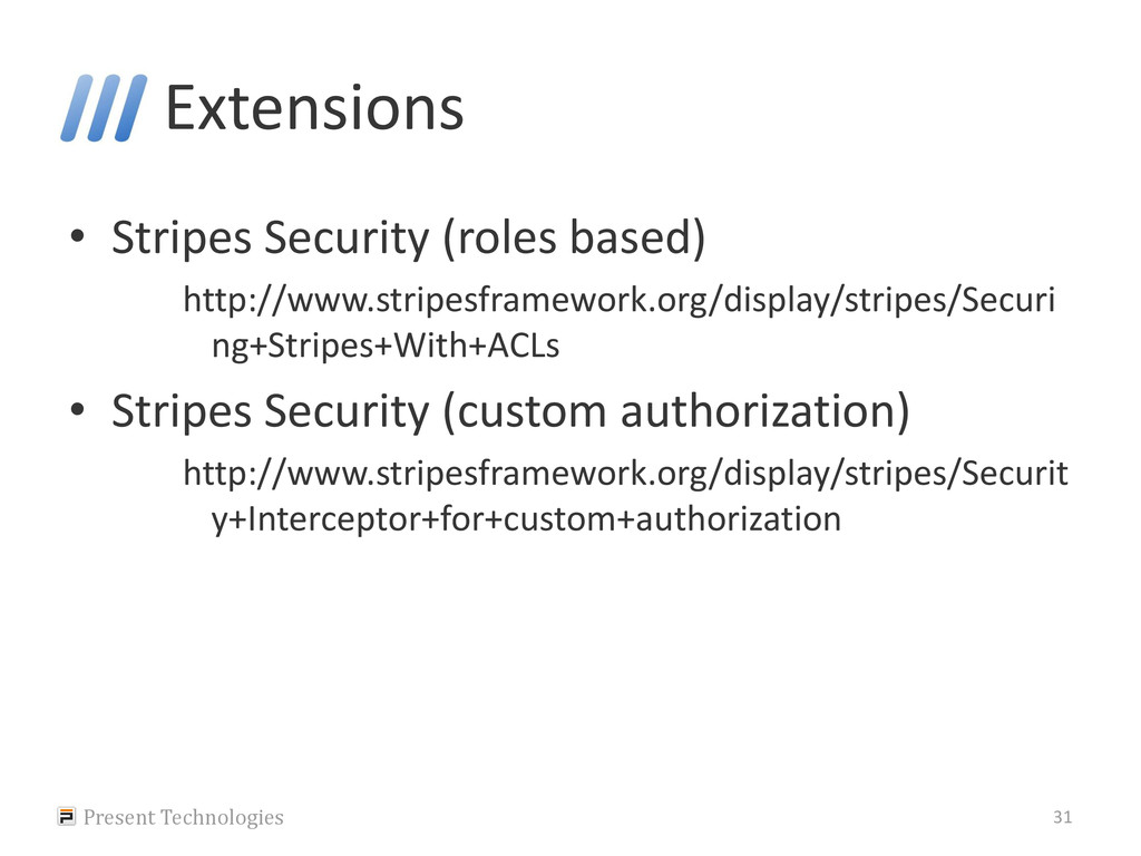 Extensions • Stripes Security (roles based) htt...