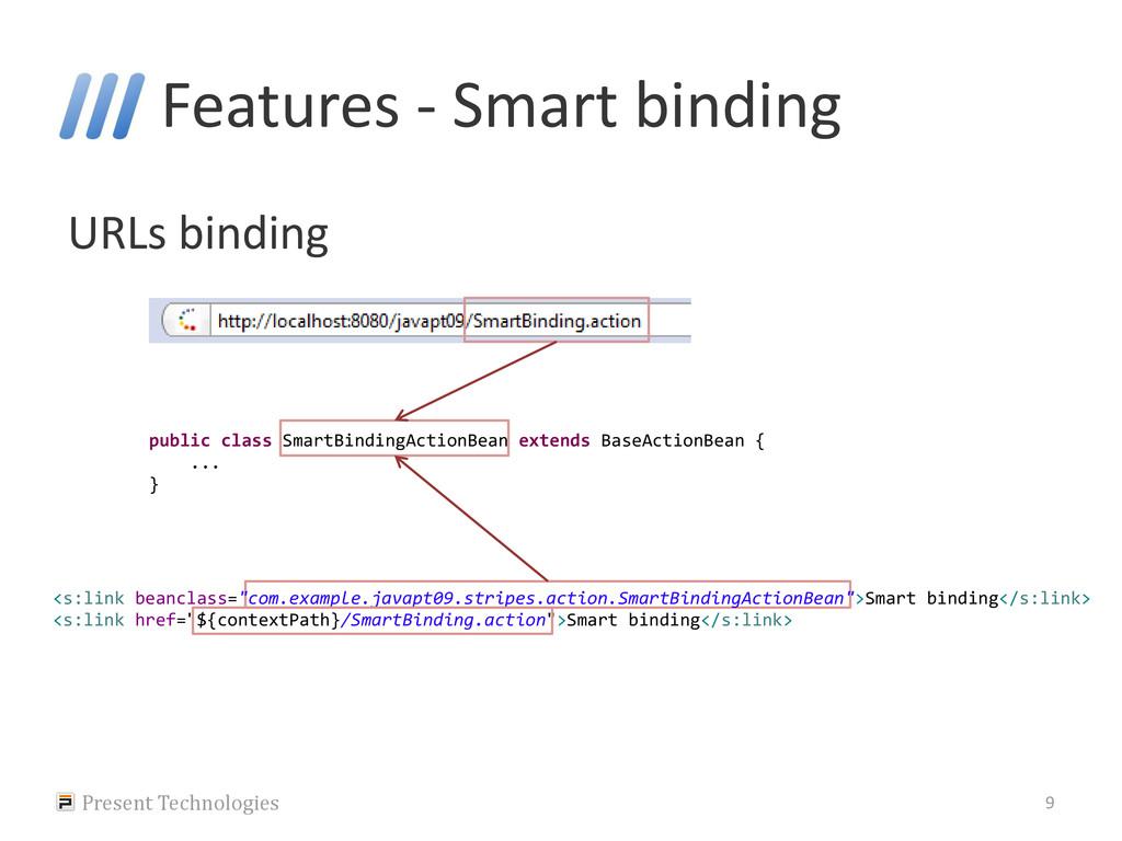 Features - Smart binding URLs binding Present T...
