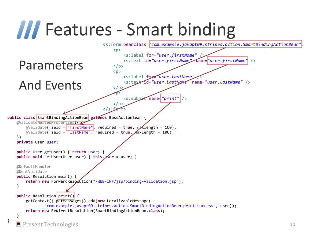 """Parameters And Events <s:form beanclass=""""com.ex..."""