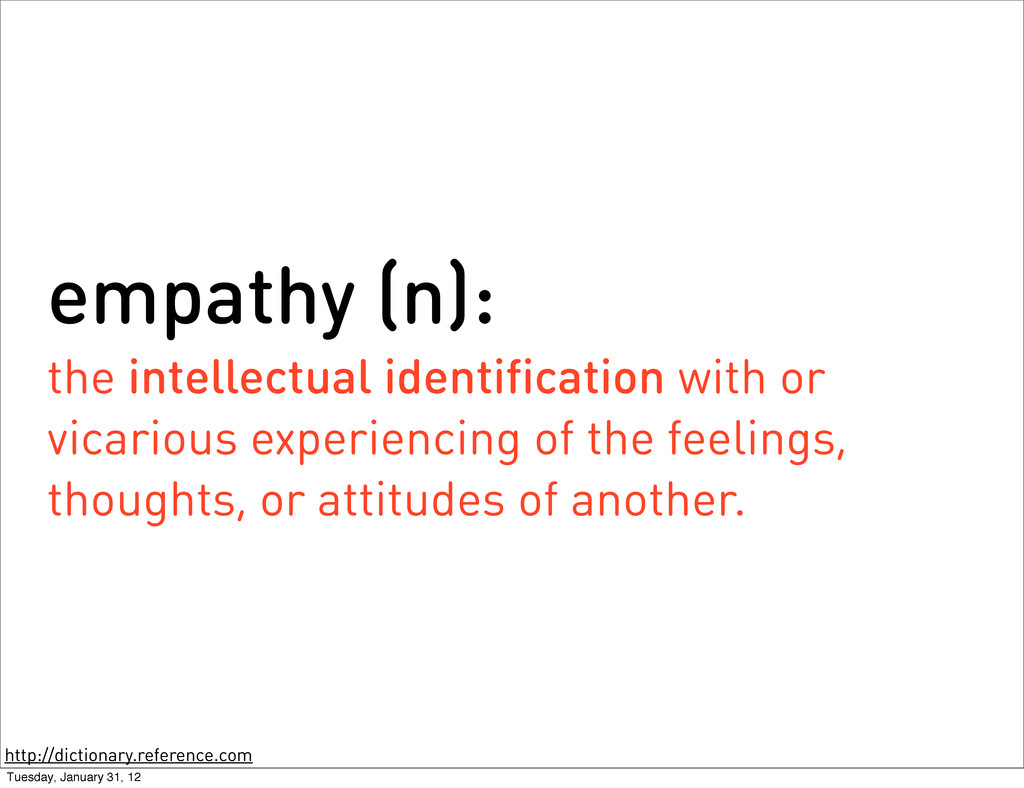 empathy (n): the intellectual identification wi...