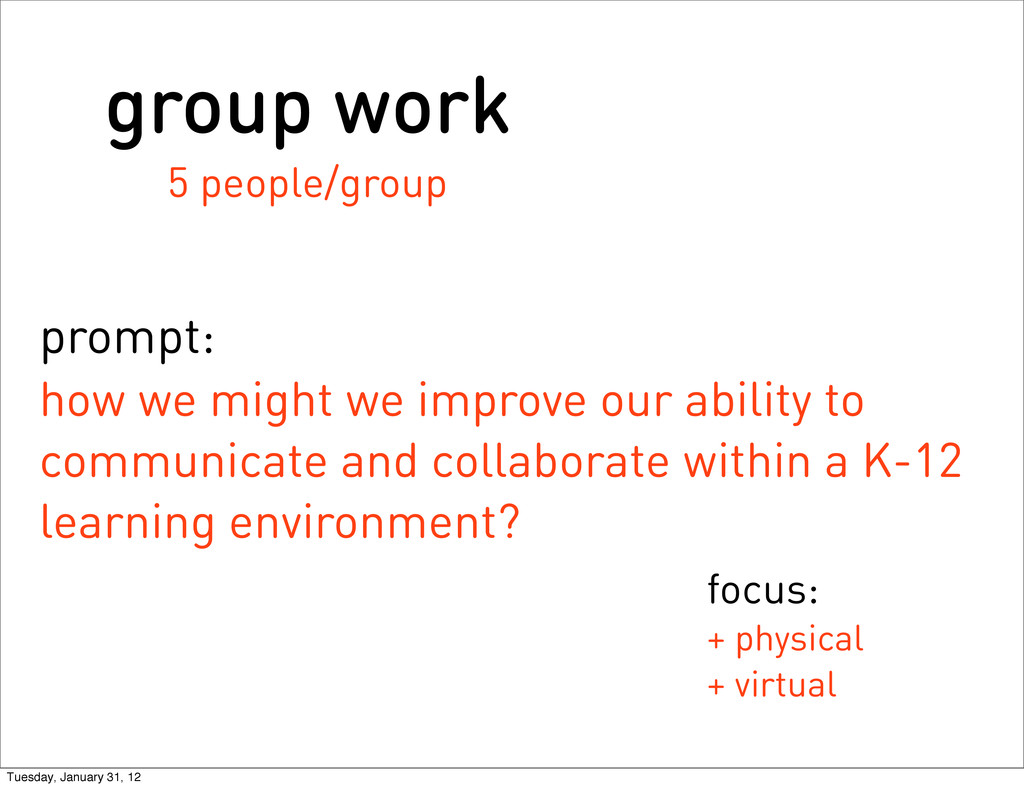 group work 5 people/group prompt: how we might ...