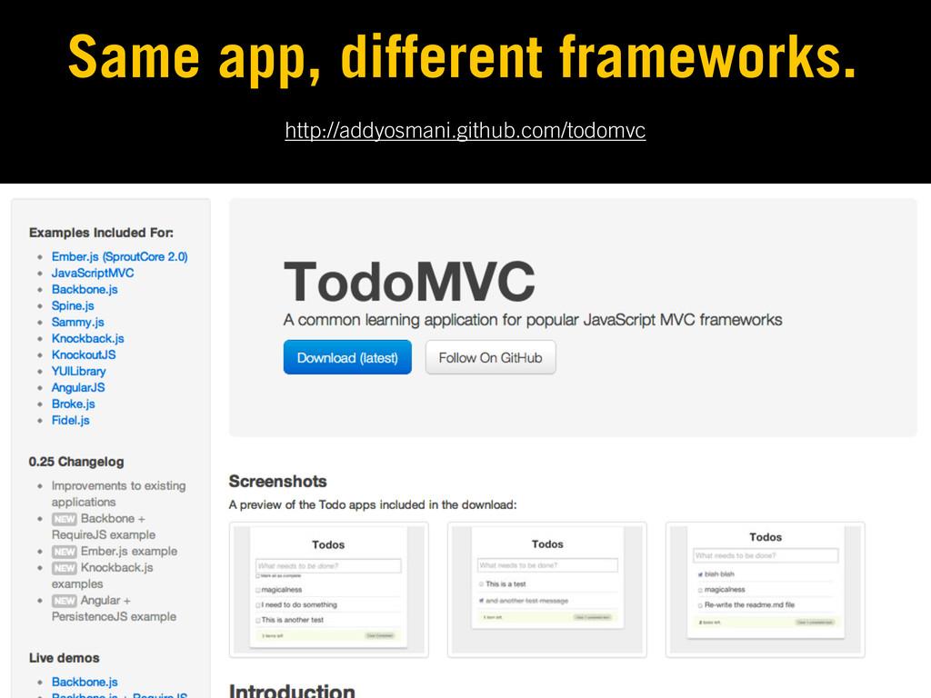 http://addyosmani.github.com/todomvc Same app, ...