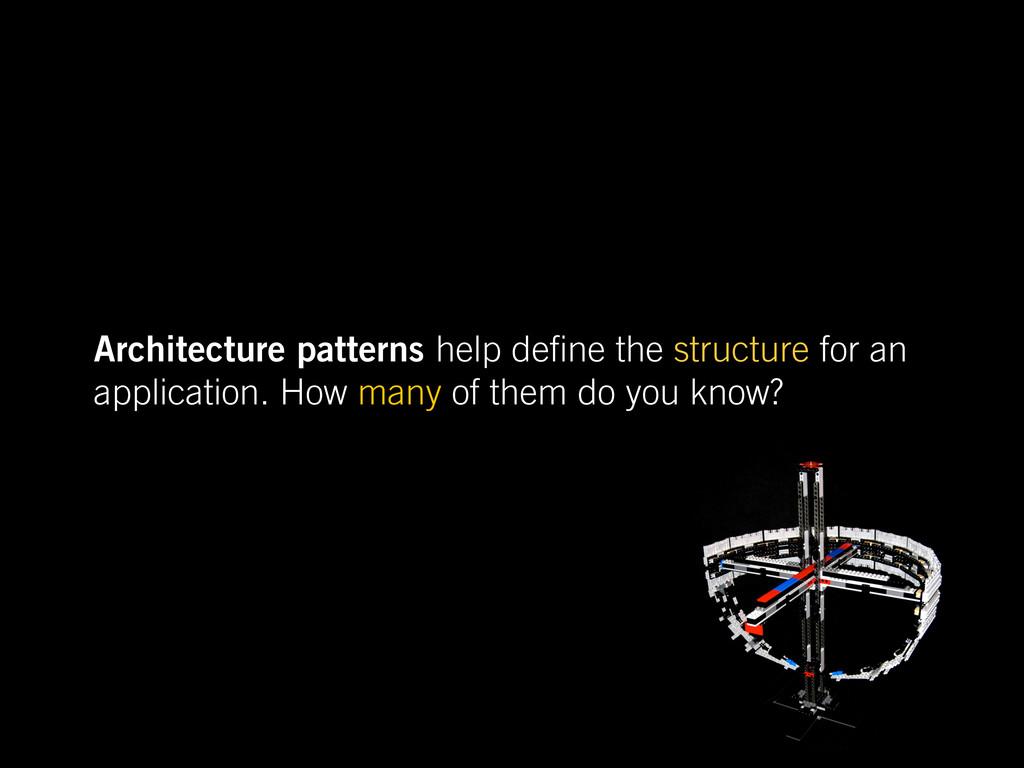 Architecture patterns help de ne the structure ...
